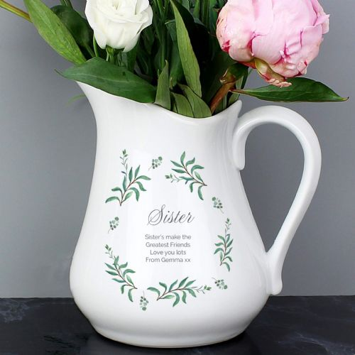 Personalised French Country Flower Jug Gift For A Special Sister